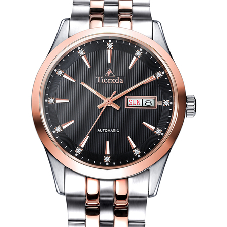 帝达时(Tierxda)手表全自动机械表 男表防水蓝宝石玻璃夜光双日历时商务男士手表6029G