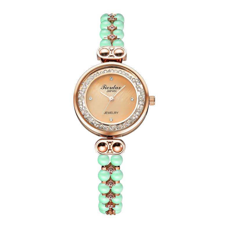 帝达时(Tierxda)手表女石英表 韩版时尚宝石手链女表 简约女士手表X1008L