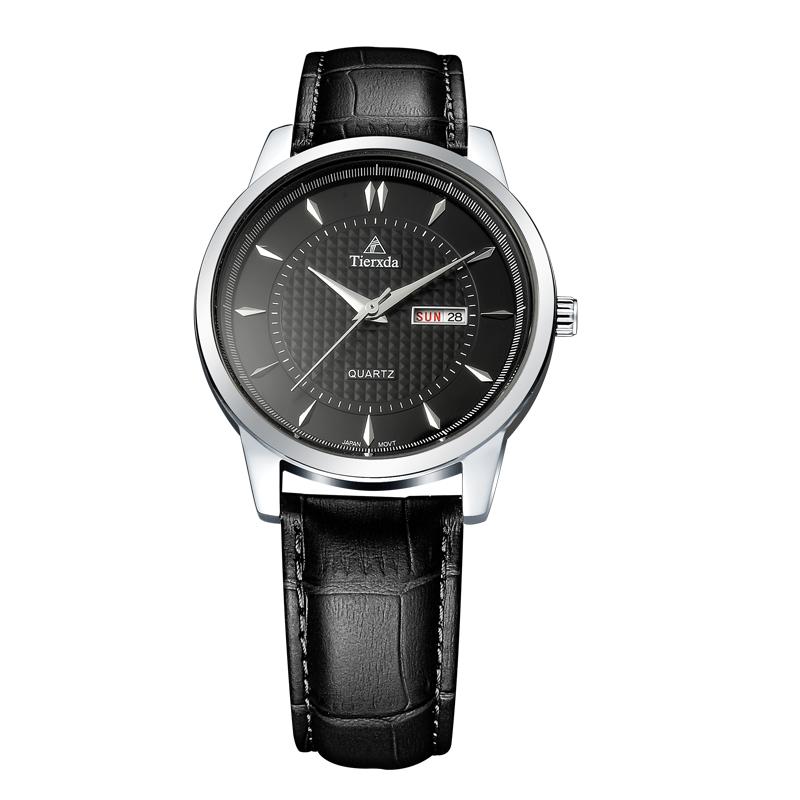 帝达时(Tierxda)手表石英表 简约皮带商务男士手表 双日历时尚男表6016M-1P