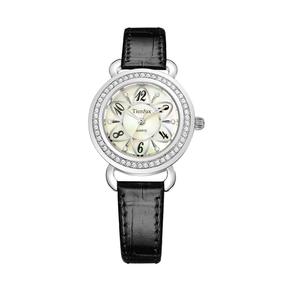 帝达时(Tierxda)女士手表 简约皮带防水手表 女 名媛水钻贝壳流行时尚女表6098L
