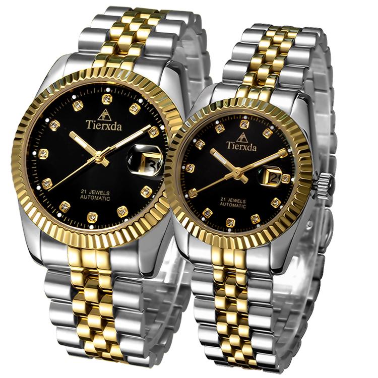 帝达时(Tierxda)手表全自动机械表 男表防水蓝宝石玻璃夜光双日历时商务男士手表情侣对表6028GL
