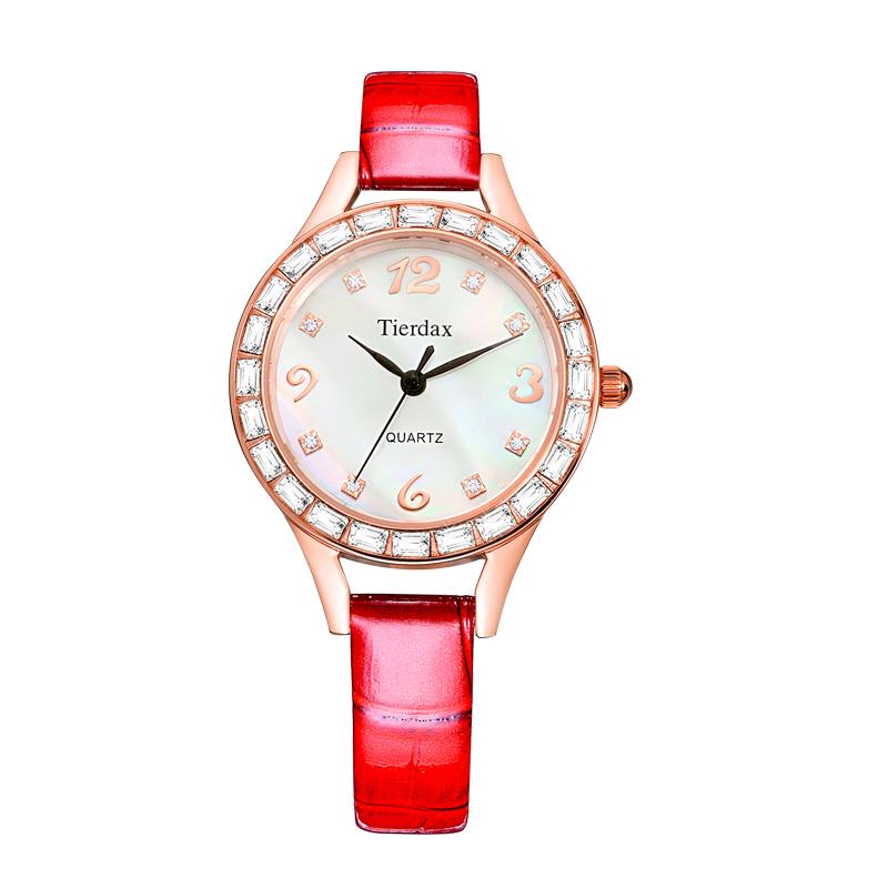 帝达时(Tierxda)女士手表 简约皮带防水手表 女 名媛水钻贝壳流行时尚女表6090L
