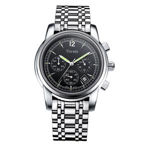 帝达时(Tierxda)手表 防水夜光日历男士手表 时尚运动钢带男表 6100G