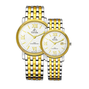 帝达时(Tierxda)手表 休闲时尚情侣手表一对 日历男士手表 钢带情侣表6056GL