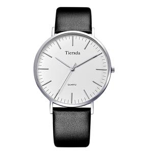 帝达时(Tierxda)手表石英表 简约皮带蓝宝石玻璃男士手表 薄装男表6047G